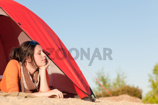 Camping happy woman relax tent on beach