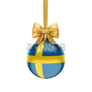 3D rendering Christmas ball with the flag of Sweden