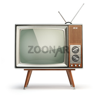 Retro TV set isolated on white background. Communication, media and television concept.