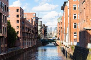 canal and Pulverturmsbrucke bridge in Hamburg