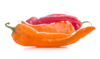 Red and orange peppers vegetable.