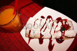 Pastry and glass of juice