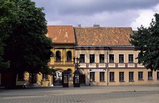 Litauen, Kaunas, Rathausplatz, Buergerhaeuser