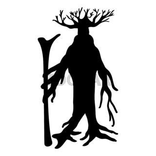 Ent tree silhouette ancient legend fantasy