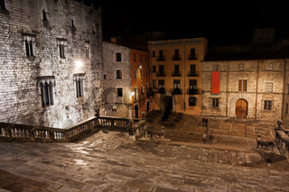 Cathedral Steps and Square at Night in Girona
