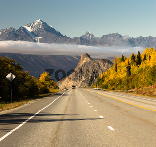 Truck Approaches Fall Season Open Road Alaska