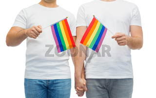 male couple with gay pride flags holding hands