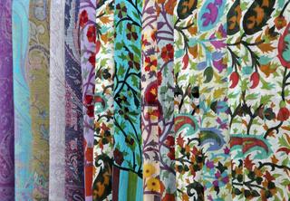 Colorful scarves on an oriental bazaar market