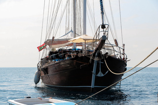Front view, bow of vintage wooden sailing ship, sailingboat