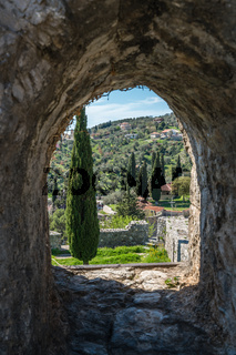 Arched wall window in the Stari Bar ruins