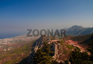 Panorama of Northen Cyprus from the top of Saint Hilarion Castle