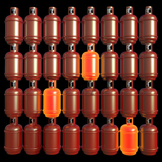 Propane gas cylinders isolated on a blackbackground . 3d illustration