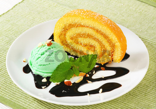 Swiss Roll with scoop of green sherbet