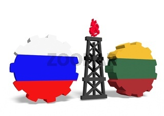russian and lithuania flags on gears, gas rig between them