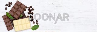 Schokolade Tafel Süßigkeiten Essen Banner Textfreiraum von oben