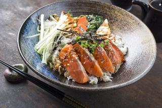 Salmon Sashimi with Rice and Vegetable