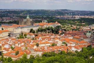 Panorama, Kleinseite, Mala Strana, mit Prager Burg, Hradschin und Altstadt, Nove Mesto, Prag, Tschechien, Europa