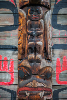 Historic native village of Ksan in northern British Columbia, Ca