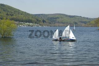 Edersee, Rehbach, Bucht, Segelboote