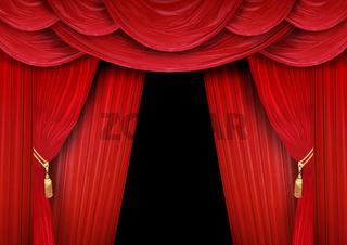 Roter Vorhang eines klassischen Theaters