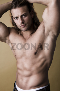 Sexy muscular man studio shoot