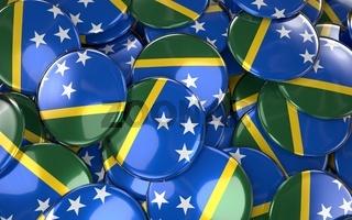 Solomon Islands Badges Background - Pile of Solomon Flag Buttons.