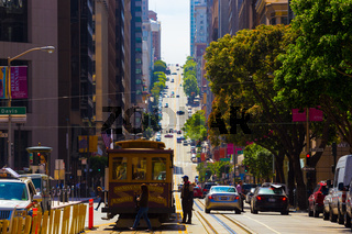 California Street Cable Car San Francisco Uphill