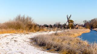 Windmill near Sande at cold winter morning