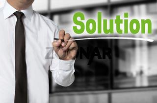 solution wird von Geschäftsmann geschrieben hintergrund konzept