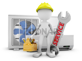 Man and air conditioner