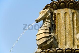 Close up of stone fountain of sea horse