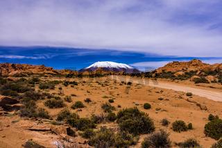 Rocky mountaineous desert landscapes nearby Uyuni salt flats of Bolivia