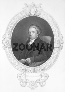 Noah Webster (1758-1843) on engraving from the 1800s. American lexicographer