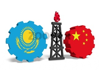 kazakhstan and china flags on gears, gas rig between them