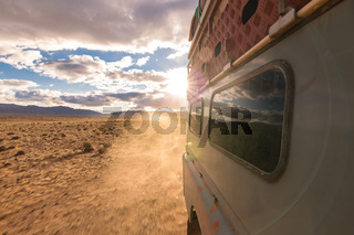 4x4 vehicle oldtimer driving off-road in Morocco