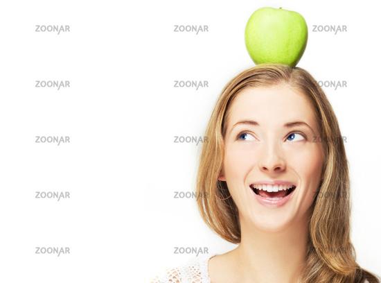 apple on her head