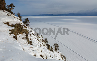 Road on the ice of winter lake Baikal