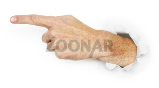 Man's hand indicates direction