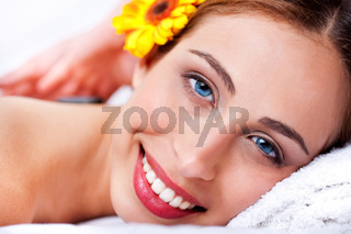 Close up shot of pretty girl lying in bed