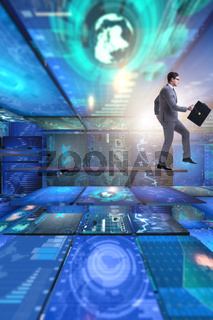 Businessman in abstract business concept