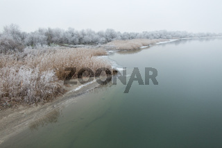 Morning frost on the river