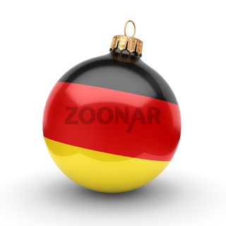 3D rendering Christmas ball with the flag of Germany