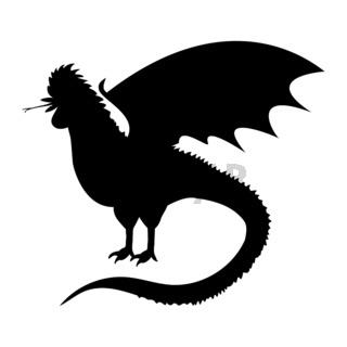 Cockatrice silhouette ancient mythology fantasy