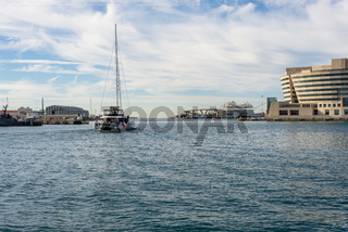 Boat in the marina Port Vell