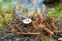 Pan on a bonfire.