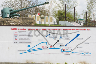 Vityazevo, Russia - April 24, 2016: The plan on the wall at the foot of the monument in honor of this place located on the firing position coastal BC-464 battery, 1942-1943 years ', established in the village of Vityazevo, a suburb of Anapa