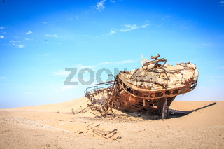 Stranded ship Eduard Bohlen in the Namib desert.