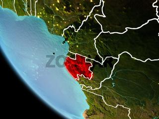 Gabon at night on Earth