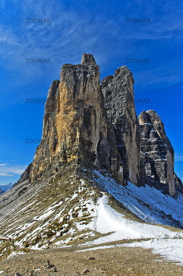 from the  Lavaredo Col at the Three Peaks Mountains,Dolomites, South Tyrol,  Italy