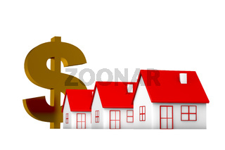 3d illustration house and currency sign on white